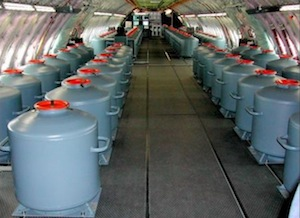 "Barrels of unknown chemicals are stored in the body of a ""chemtrails"" plane."