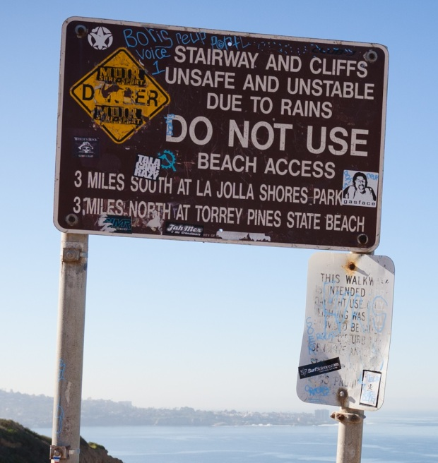 unstable cliff sign